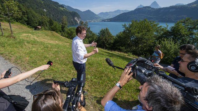 Albert Rösti a emmené la presse sur le Grütli, jeudi 25.07.2019. [Urs Flüeler - Keystone]
