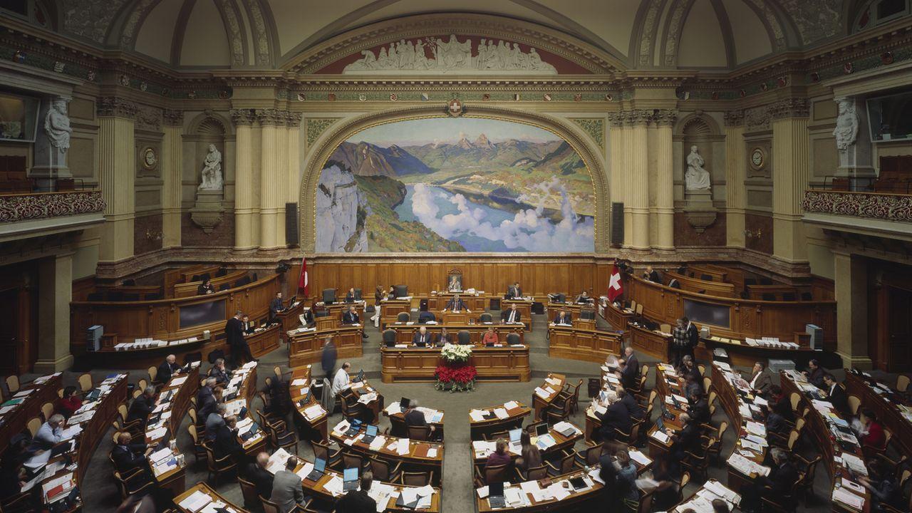 La salle du Conseil national lors de la session d'hiver en 2008. [Gaeton Bally - Keyston]