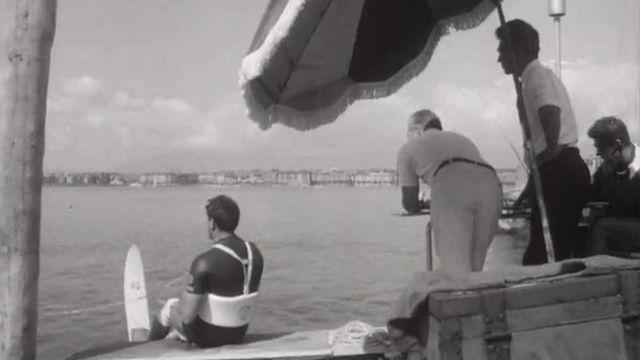 Ski nautique en 1964 à Genève. [RTS]