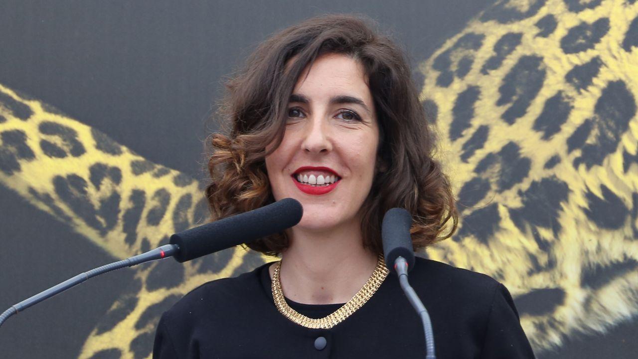 Lili Hinstin, directrice artistique du Festival de Locarno, lors de la cérémonie d'ouverture de la 72 édition le 8 août 2019. [Melissa Härtel - RTS]