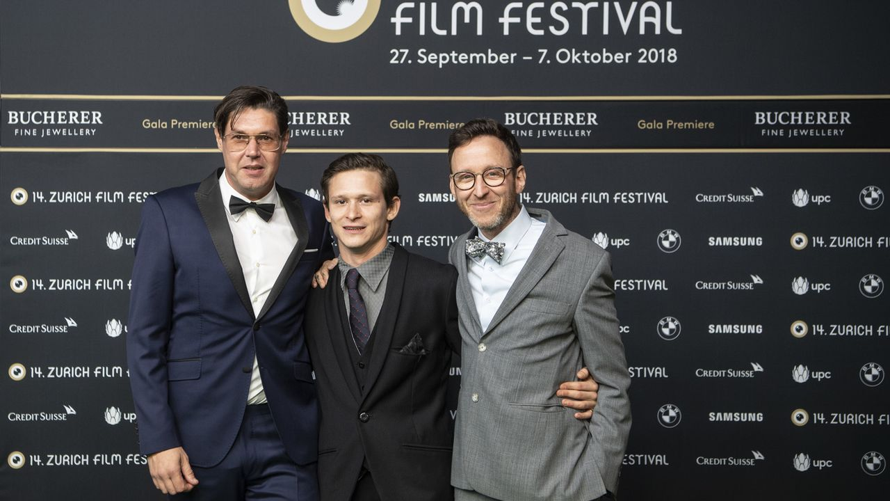 Le réalisateur Michael Steiner, l'acteur Joel Basman et le scénariste Thomas Meyer. [Ennio Leanza - Keystone]