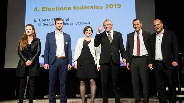Les candidats du PDC valaisan pour le Conseil national. [Jean-Christophe Bott - Keystone ]