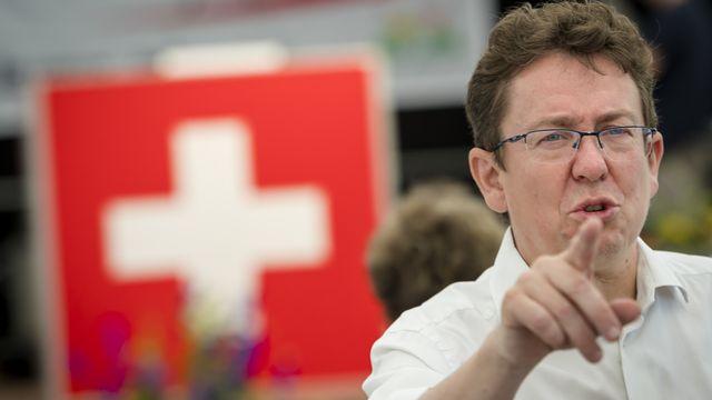 Le président de l'UDC Albert Rösti au Grütli le 1er août 2019. [Jean-Christophe Bott - Keystone]