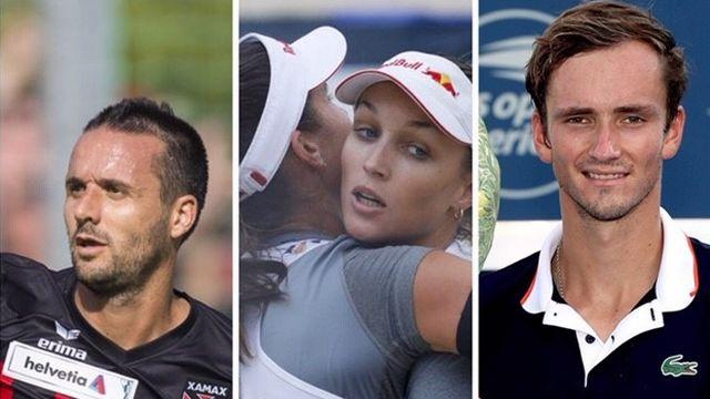 Le top-3 du week-end: Raphaël Nuzzolo, Joana Heidrich et Anouk Vergé-Dépré, Daniil Medvedev. [J-C.Bott/P.Golovkin/M.Stockman - Keystone/AFP]