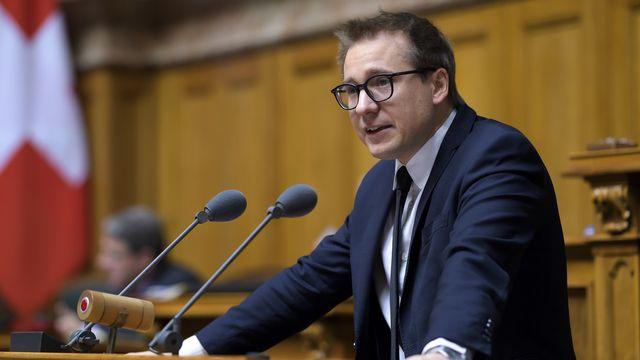 Ici à l'image, Philippe Nantermod, vice-président du PLR suisse et conseiller national valaisan. [Anthony Anex - Keystone]