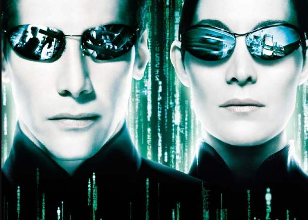 "Un détail de l'affiche du film ""Matrix Reloaded""."