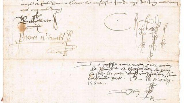 Daté du 15 janvier 1552, le document atteste de la réception par Jean Calvin de ses gages trimestriels en sa qualité de ministre du culte. [Archives d'Etat de Genève]