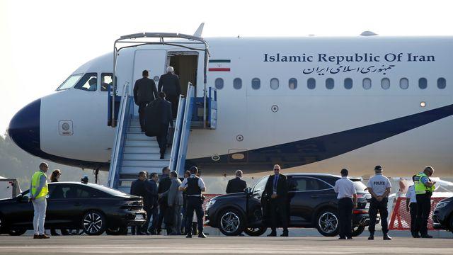 Un avion du gouvernement iranien posé sur le tarmac de l'aéroport de Biarritz, le 25 août 2019. [Regis Duvignau - Reuters]