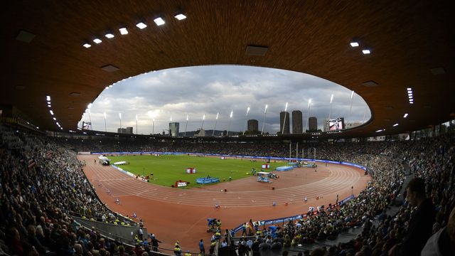 Le stade du Letzigrund lors du Weltklasse en 2015, accueillera les finales de la Ligue de diamant en 2020 et 2021. [Walter Bieri - Keystone]
