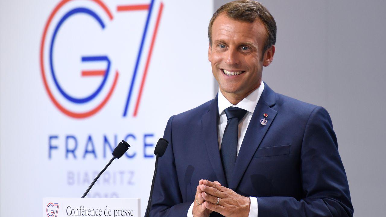 Emmanuel Macron a conclu avec le sourire le sommet du G7 à Biarritz le 26 août 2019. [Bertrand Guay - RTS]