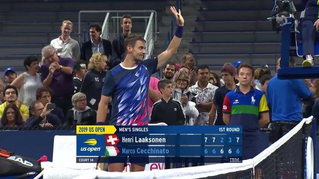 1er tour, H.Laaksonen (SUI) - M.Cecchinato (ITA) (7-6, 7-6, 2-6, 3-6, 7-6): Henri Laaksonen a passé le cap du 1er tour de l'US Open devant Marco Cecchinato. [RTS]