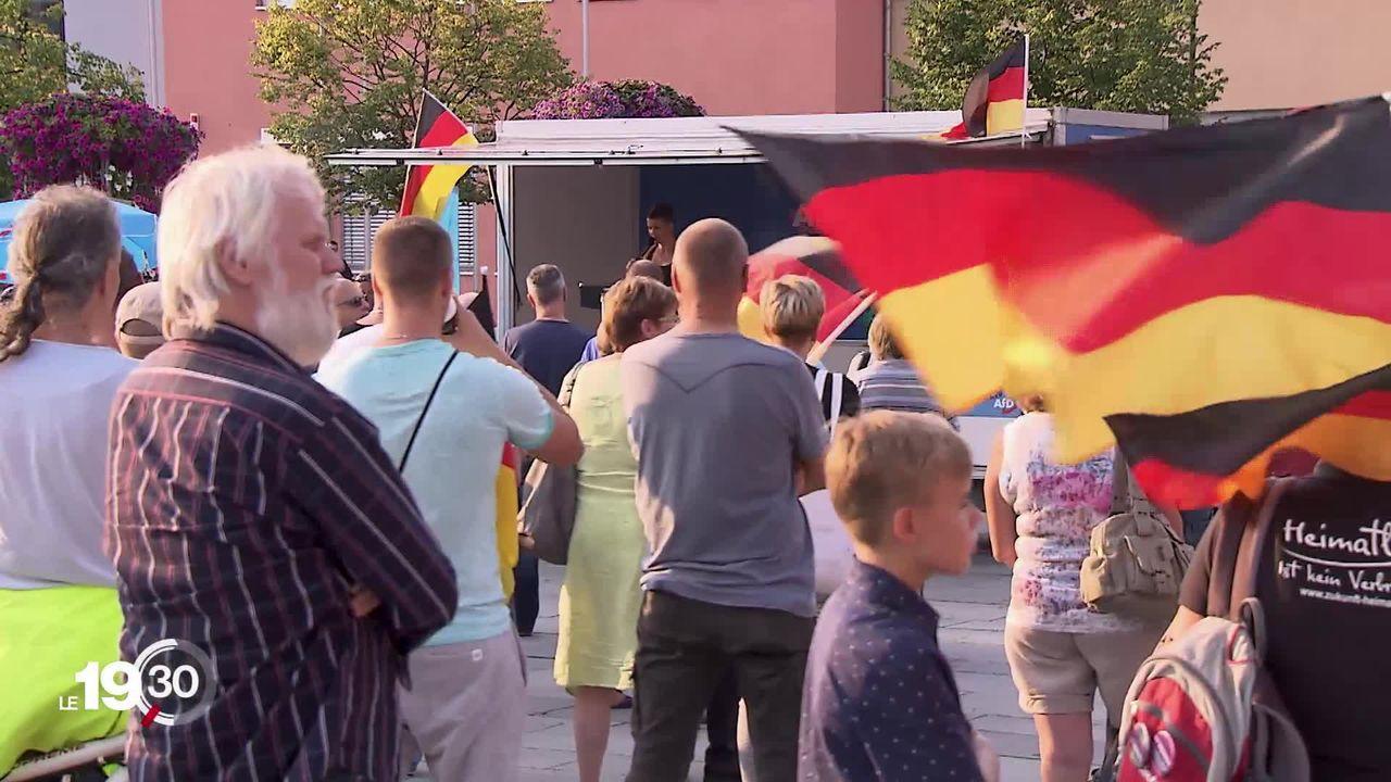 Veille d'élection dans l'Est de l'Allemagne avec les scrutins régionaux prévus en Saxe et dans le Brandebourg. L'AFD pourrait réaliser un bon score. [RTS]