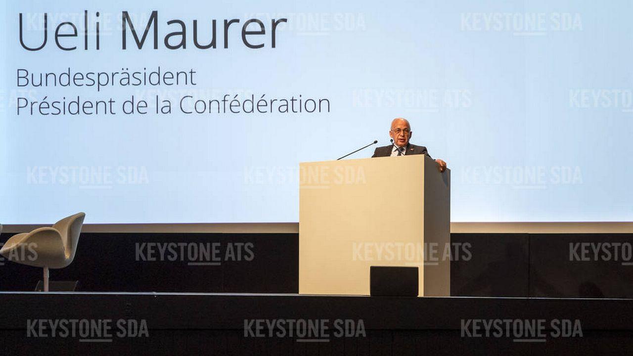 Le président de la Confédération Ueli Maurer était présent à Bâle pour l'ouverture de la Conférence nationale numérique 2019. [Georgios Kefalas - Keystone]