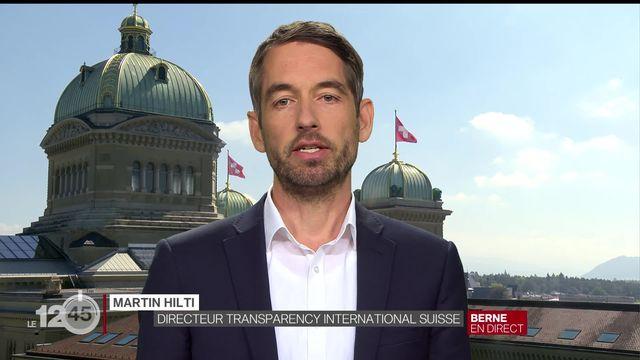 """""""Ce n'est pas suffisant"""", dit Martin Hilti, Directeur Transparency International Suisse [RTS]"""