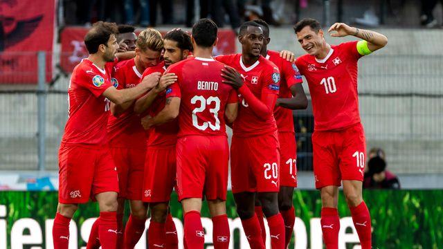 La Suisse, emmenée par son capitaine Xhaka, a fait la différence en fin de 1re période [Pascal Muller - Keystone]