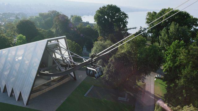 Un téléphérique par dessus la ville de Zürich. [Image ZKB - libre de droit]
