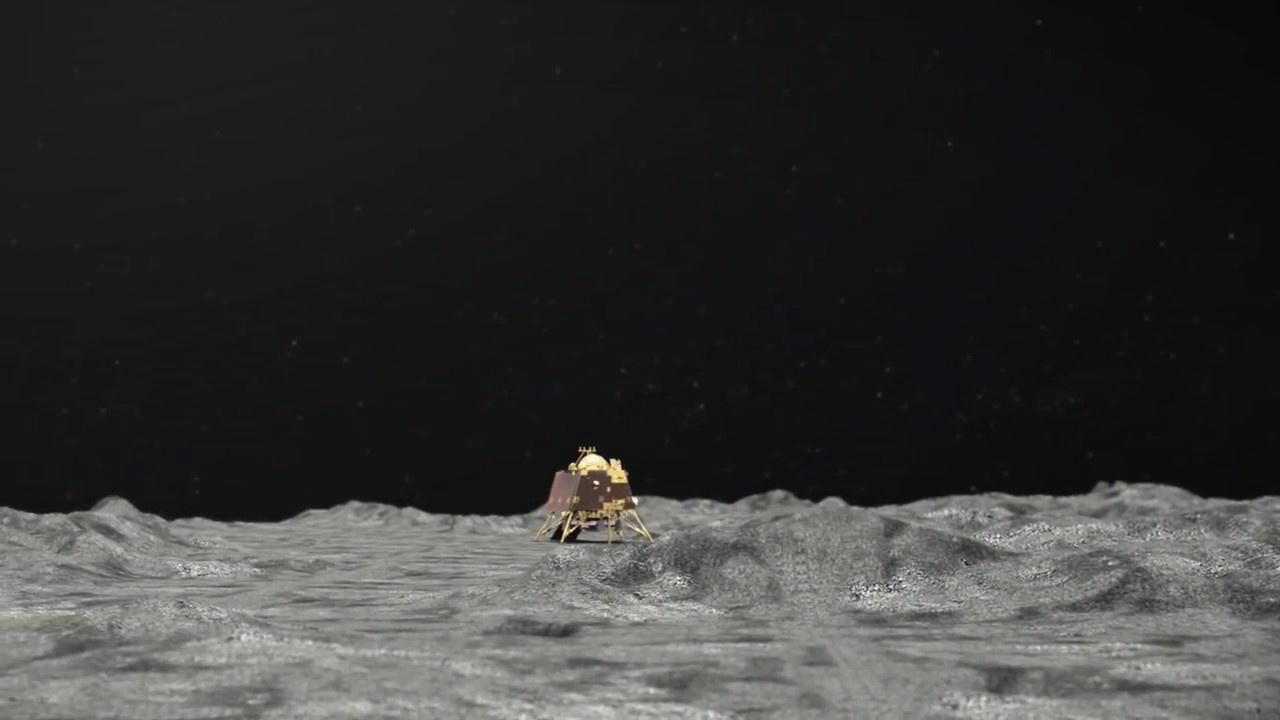 Illustration artistique de la sonde lunaire indienne Vikram. [ISRO - EPA]