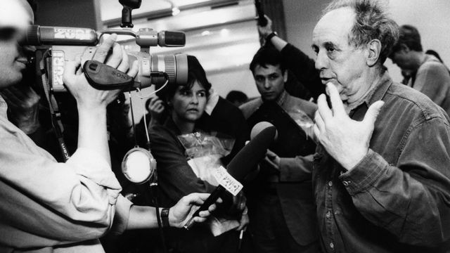 Le photographe Robert Frank au Kunsthaus de Zurich en 1995. [Walter Bieri - Keystone]