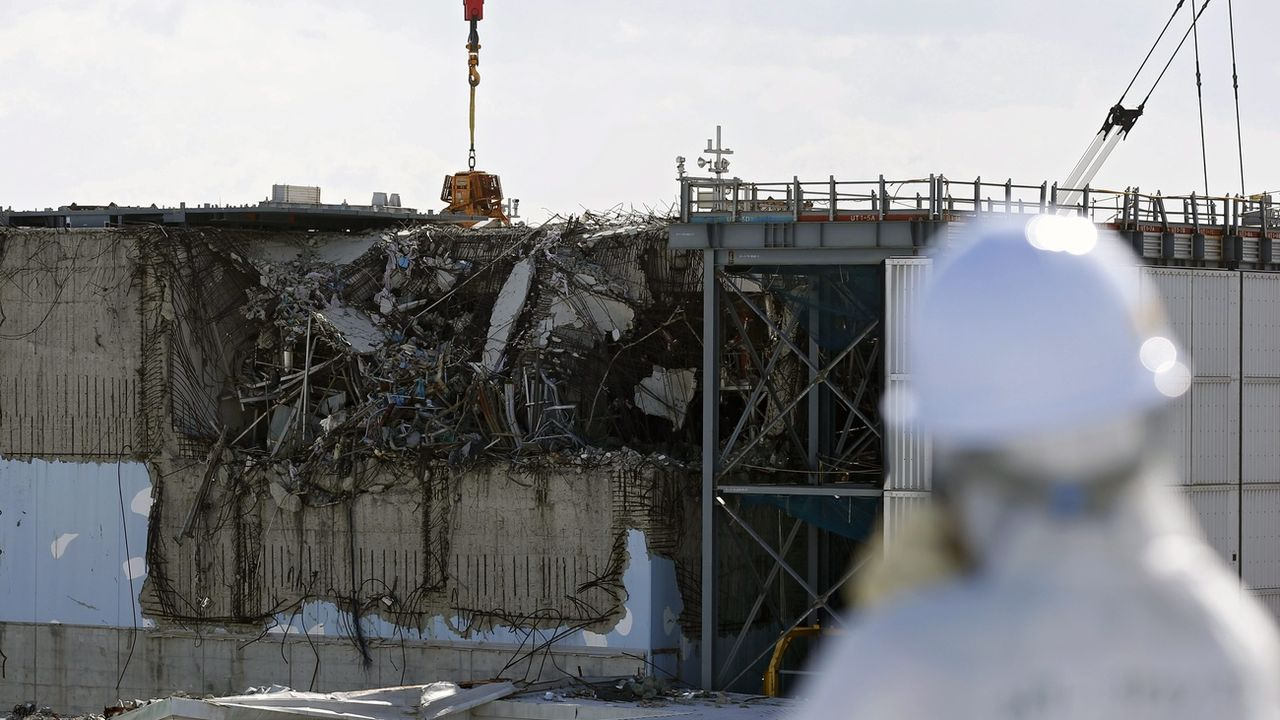 Quelques jours avant le cinquième anniversaire de la catastrophe de Fukushima, une vue du réacteur numéro 3 de la centrale de TEPCO. Japon, le 10 février 2016. [Toru Hanai - Keystone/epa/pool]