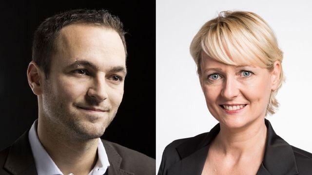 Debat entre Mathias Reynard (PS) et Isabelle Moret (PLR). [Alessandro della Valle/Christian Beutler - Keystone]