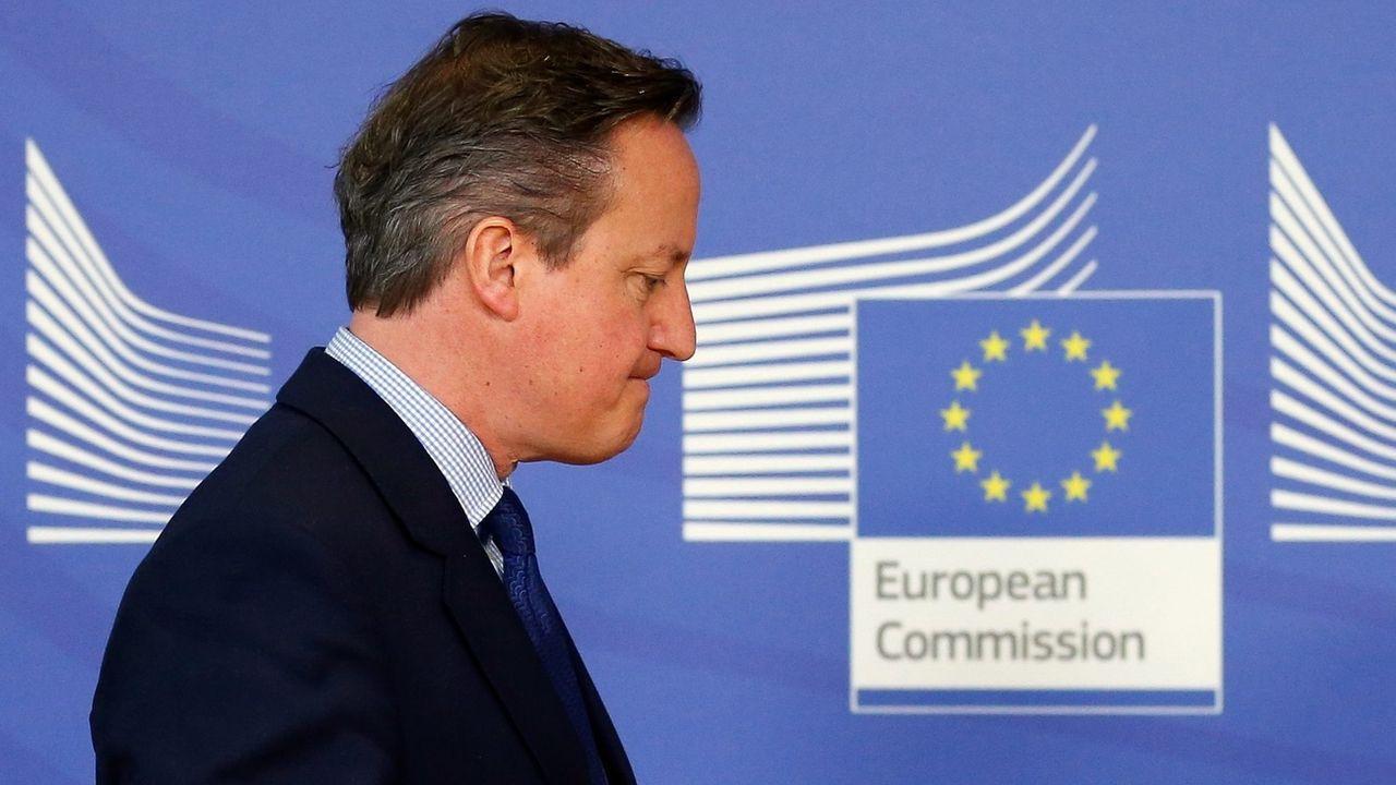 David Cameron, alors Premier ministre britannique, à la Commission européenne, à Bruxelles, le 29 janvier 2016. [Laurent Dubrule -  Epa]
