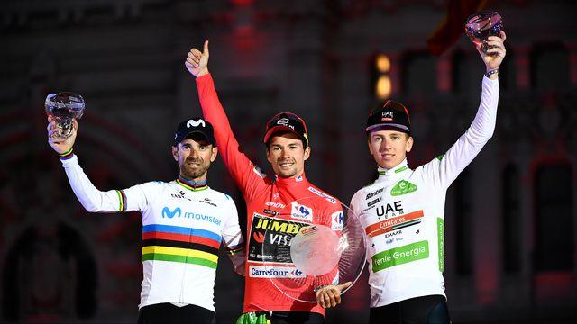 Primoz Roglic (au centre) devance Alejandro Valverde (à gauche) et Tadej Pogacar sur le podium. [AFP]