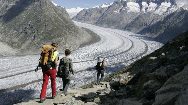 Vue sur le glacier d'Aletsch, dans le canton du Valais. [Laurent Gillieron - Keystone]