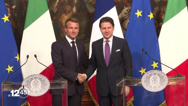 France-Italie: Emmanuel Macron et Giuseppe Conte trouvent un accord sur la répartition des migrants. [RTS]