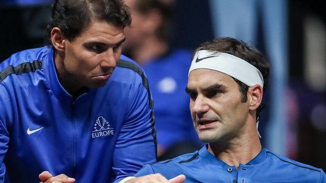 Rafael Nadal et Roger Federer, sous les yeux de Bjorn Borg: un trio encore gagnant ce week-end à Genève? [KEYSTONE]