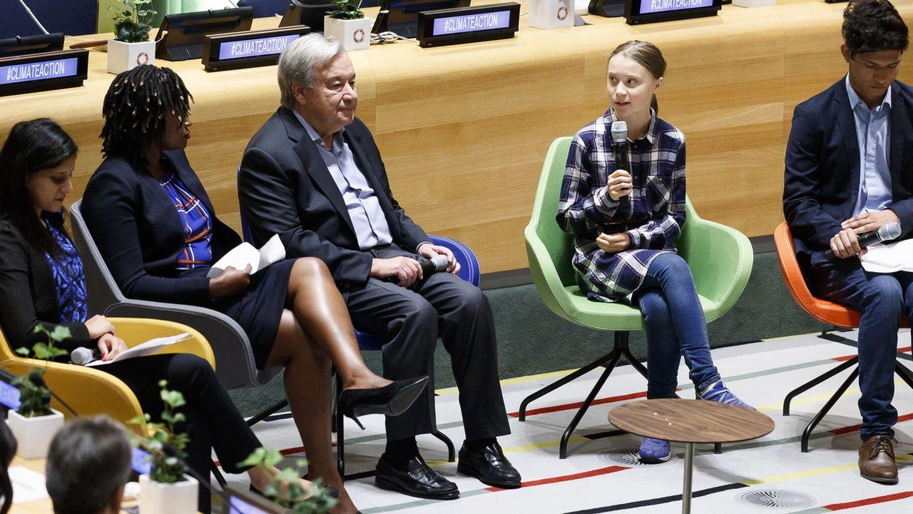La jeune activiste pour le climat Greta Thunberg a notamment parlé devant le secrétaire général des Nations unies Antonio Guterres. [Justin Lane - Keystone/EPA]