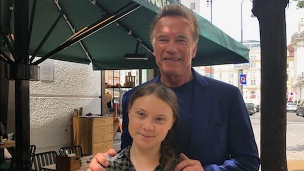 Greta Thunberg et Arnold Schwarzenegger, photographiés à Vienne en mai 2019, à l'occasion de la Conférence R20 sur le climat. [Monika Langthaler - APA]