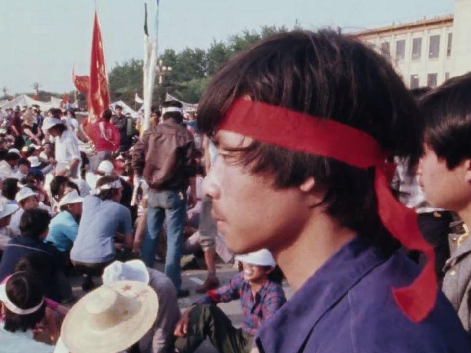 Les manifestants de la place Tiananmen, mai 1989. [RTS]