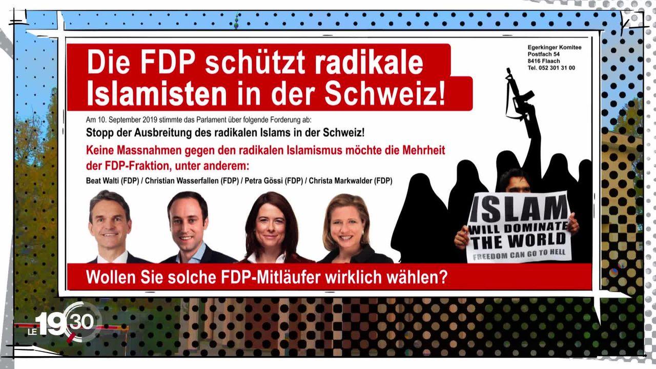 Coup de projecteur: en Suisse alémanique, la justice interdit des affiches de campagne qui s'attaquent à des membres du PLR. [RTS]