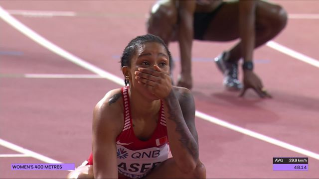 400m dames: Naser (BRN) remporte la médaille d'or avec un super chrono [RTS]