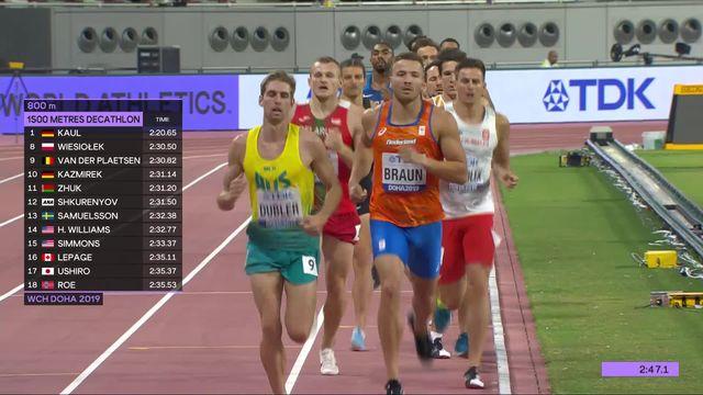 Decathlon, 1500m messieurs: Kaul (ALL) remporte la dernière course et la compétition [RTS]