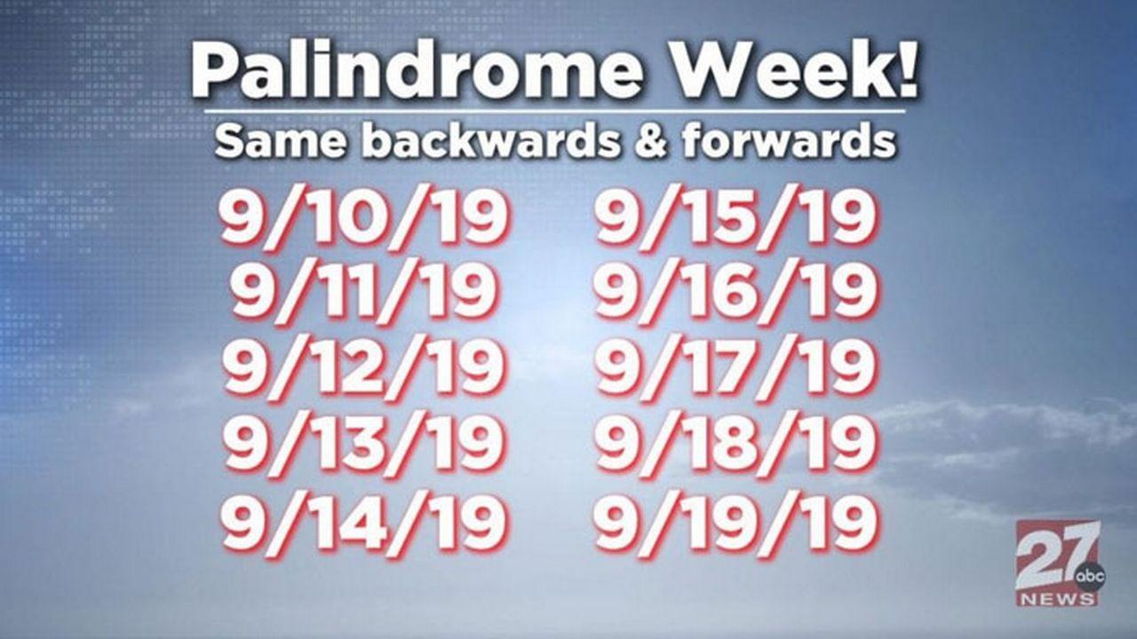 Dates palindromes en septembre 2019 [WKOW news]