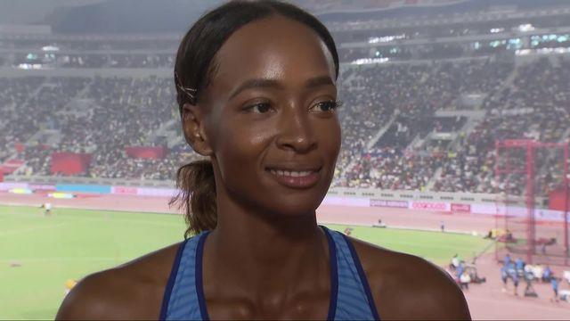 400m haies dames: Dalilah Muhammad (USA) au micro de RTSsport après son record du monde [RTS]