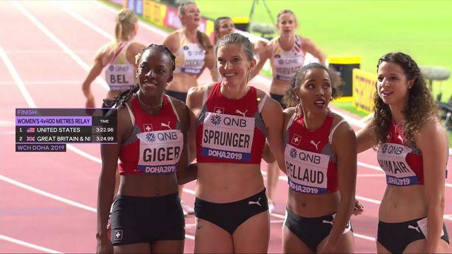 Relais 4x400m dames : les Américaines s'imposent, les Suisses dernières de leur série [RTS]