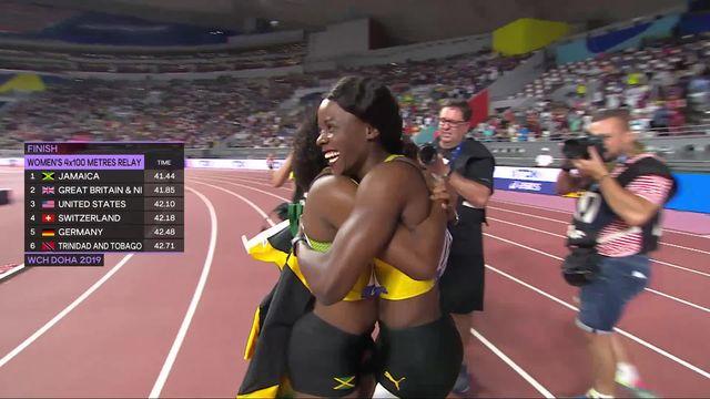 Relais 4x100m dames : la Jamaïque championne du monde, la Suisse 4e [RTS]
