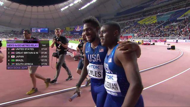Relais 4x100m messieurs : victoire américaine en 37.10 [RTS]