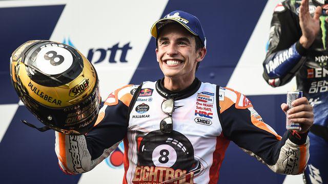 Marc Marquez a fait coup double en Thaïlande. [Lillian Suwanrumpha  - AFP]