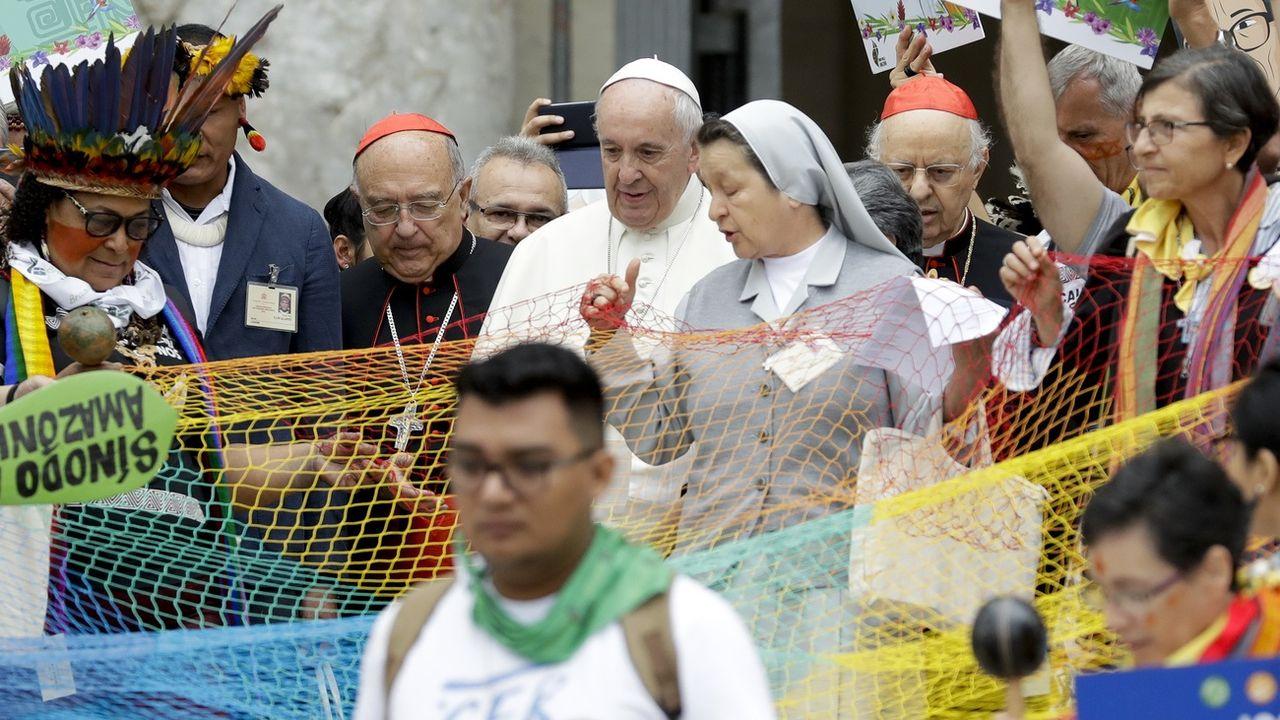 Le pape François à la messe inaugurale du synode sur l'Amazonie, le dimanche 7 octobre à Rome. [Andrew Medichini - Keystone]
