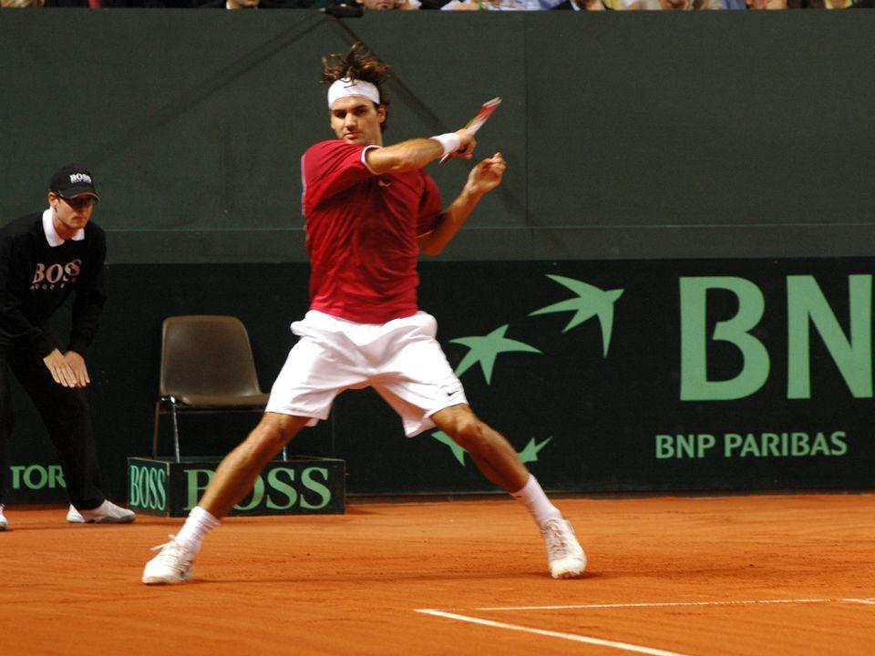 Roger Federer à la Coupe Davis en 2005. [RTS/François Grobet]