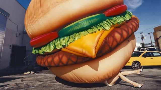 "David LaChapelle, ""Death By Hamburger"". [David LaChapelle - Galerie des Bains]"