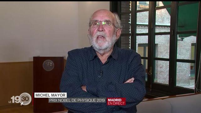 """Michel Mayor """"Ca a été une surprise mais aussi une joie énorme, un honneur incroyable. Je pense aussi à tous les collègues."""" [RTS]"""