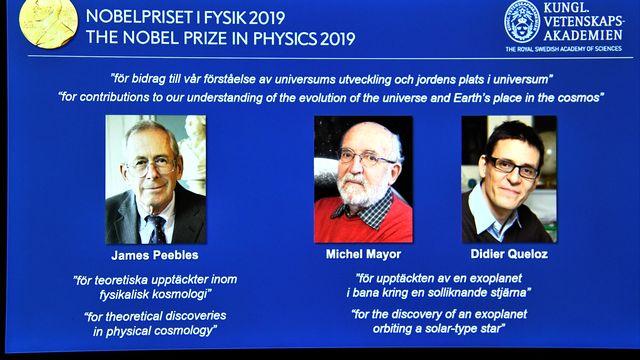 Le prix Nobel de Physique 2019 récompense Michel Mayor, Didier Queloz et James Peebles. [TT News Agency - www.nobelprize.org via reuters]