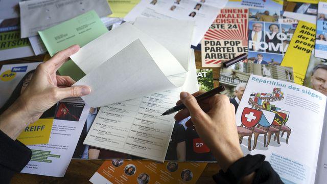 Du matériel de vote dans le canton de Berne. [Anthony Anex - Keystone]