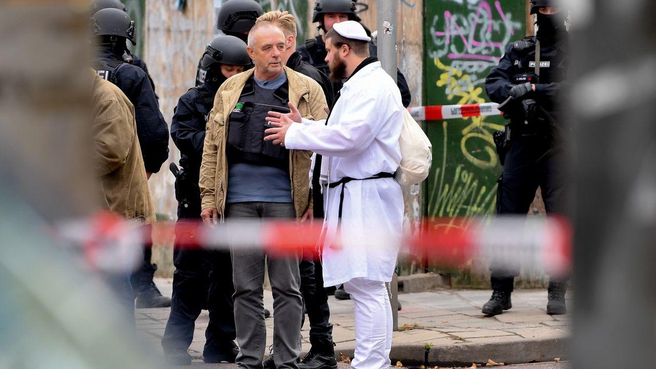 Une fusillade visant une synagogue fait deux morts à Halle. [Filip Singer - EPA/Keystone]