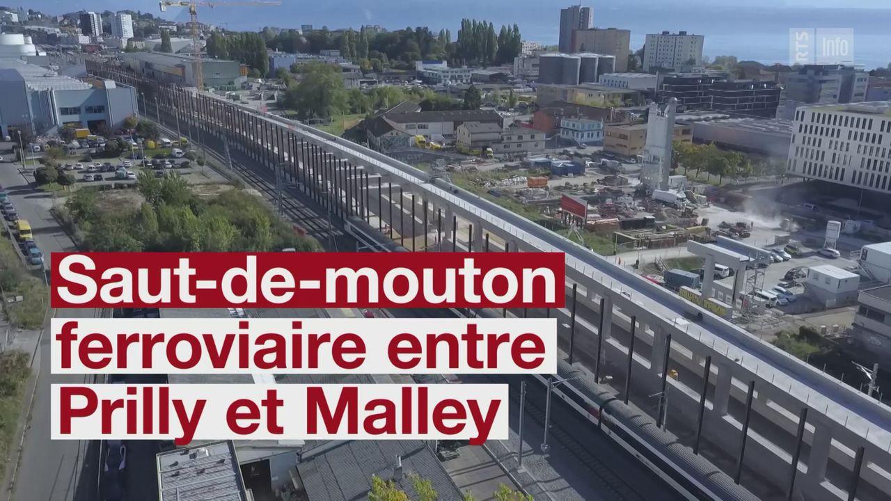 Le chantier du saut-de-mouton ferroviaire entre Lausanne et Renens [RTS]