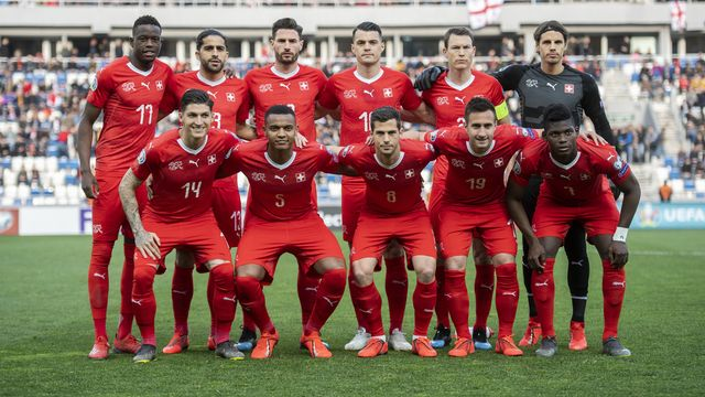L'équipe nationale suisse de football en mars 2019. [Ennio Leanza - Keystone]